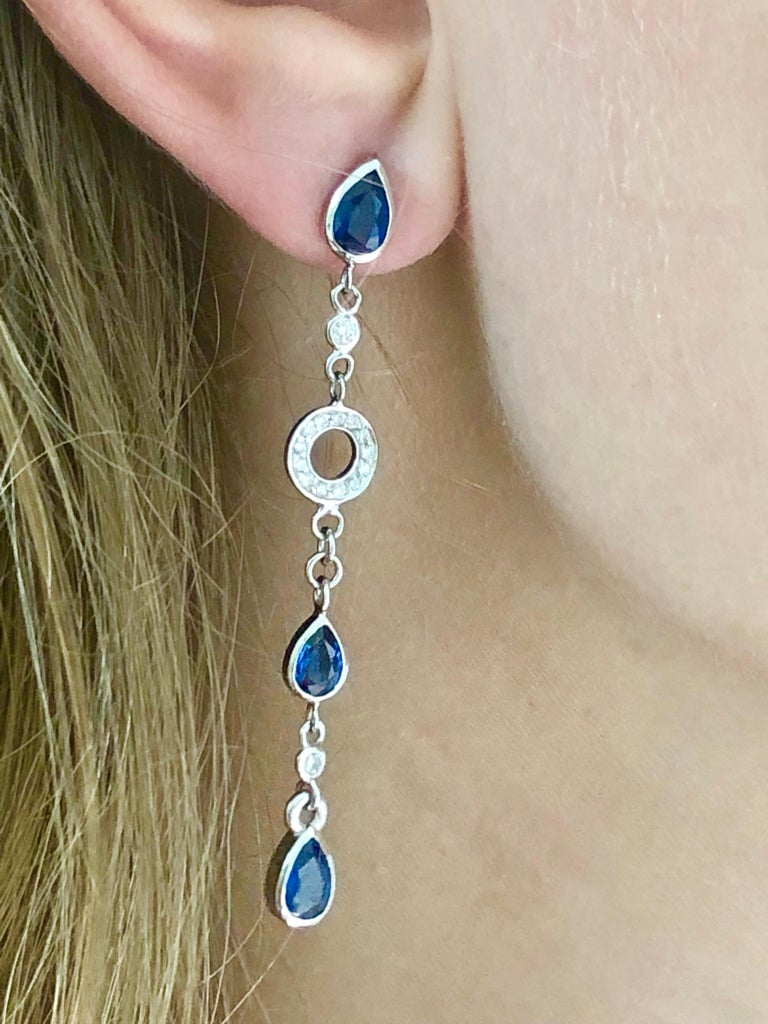 Pear Shape Sapphire and Diamond 2.5 Inch Long Earrings Weighing 5.60 Carat  In New Condition For Sale In New York, NY