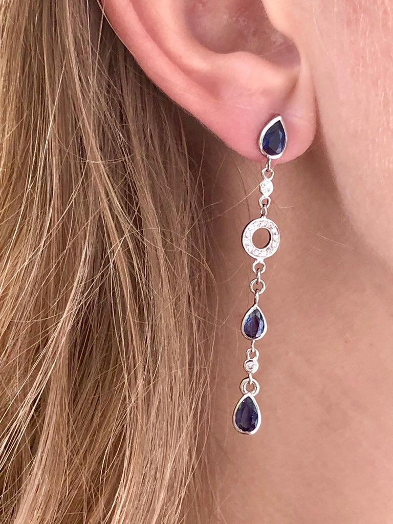 Pear Shape Sapphire and Diamond 2.5 Inch Long Earrings Weighing 5.60 Carat  For Sale 2