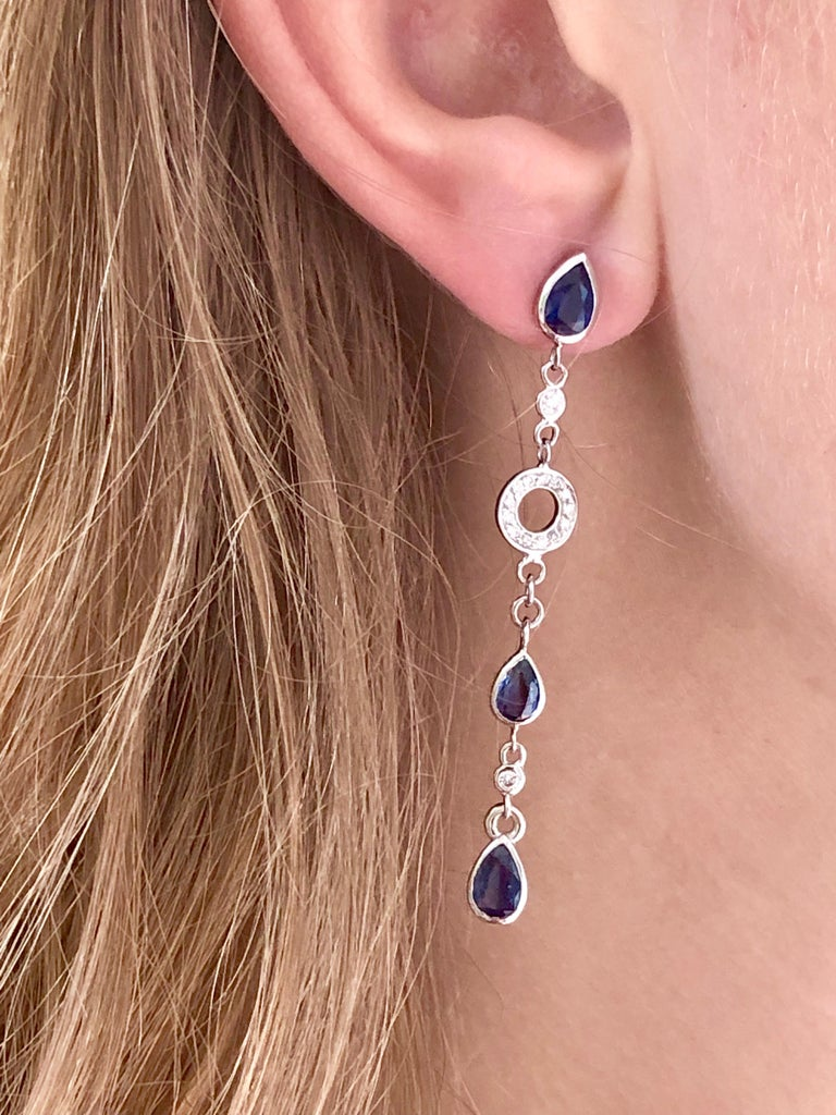 Pear Shape Sapphire and Diamond 2.5 Inch Long Earrings Weighing 5.60 Carat  For Sale 3