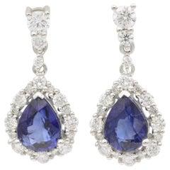 Pear Shape Sapphire and Diamond Drop Earrings