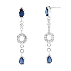 Pear Shape Sapphire and Diamond White Gold Earrings Weighing 3.50 Carat