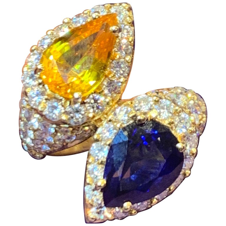 """Pear Shape Sapphire and Diamond """"You & Me"""" Ring For Sale"""