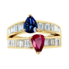 Pear Shape Sapphire and Ruby Ring with Emerald-Cut Diamonds, 18k Yellow Gold