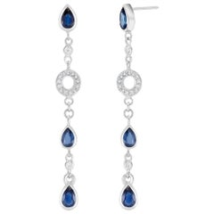 Pear Shape Sapphire and Diamond 2.5 Inch Long Earrings Weighing 5.60 Carat