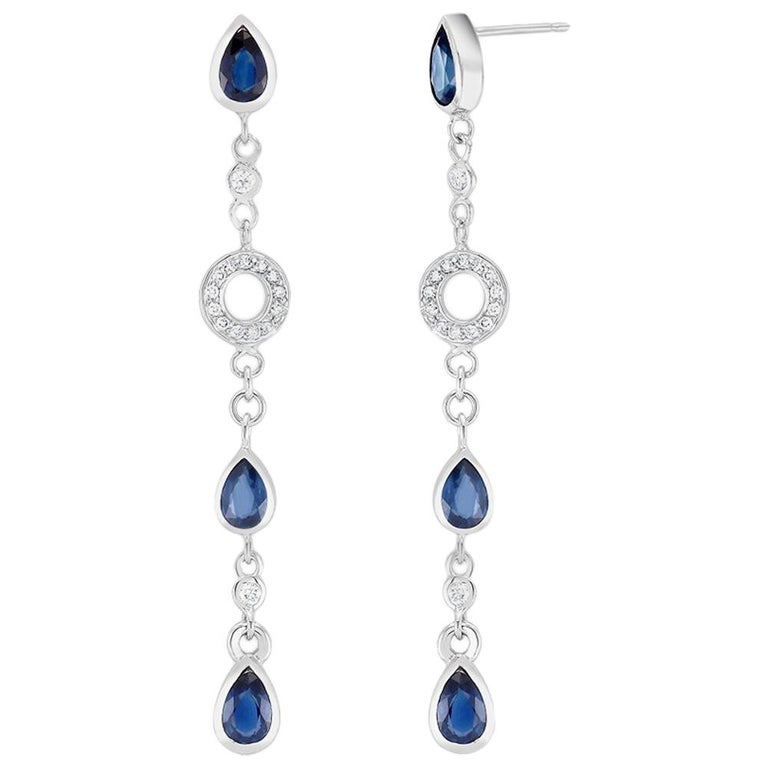 Pear Shape Sapphire and Diamond 2.5 Inch Long Earrings Weighing 5.60 Carat  For Sale
