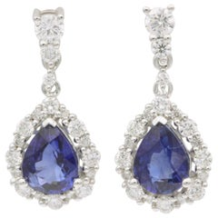 Pear Shape Sapphire Diamond Drop Earrings 18 Karat White Gold 2.43 Carat
