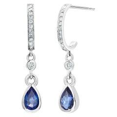 Pear Shape Sapphire Diamond Drop Hoop Gold Earrings