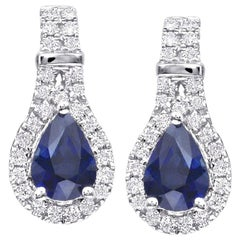 Pear Shape Sapphire Diamond White Gold Drop Earrings