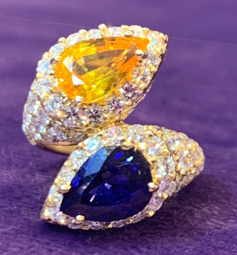 Pear Cut Pear Shape Sapphire and Diamond