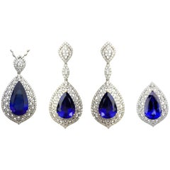 Pear Shape Tanzanite and Diamond Ring, Earring, Pendant Suite