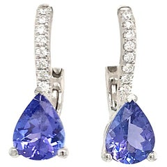 Pear Shape Tanzanite Diamond Drop Earrings 2.25 Carat 14 Karat White Gold