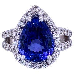 Pear Shape Tanzanite Diamond Halo Cocktail Ring 9.82 Carat 18 Karat White Gold