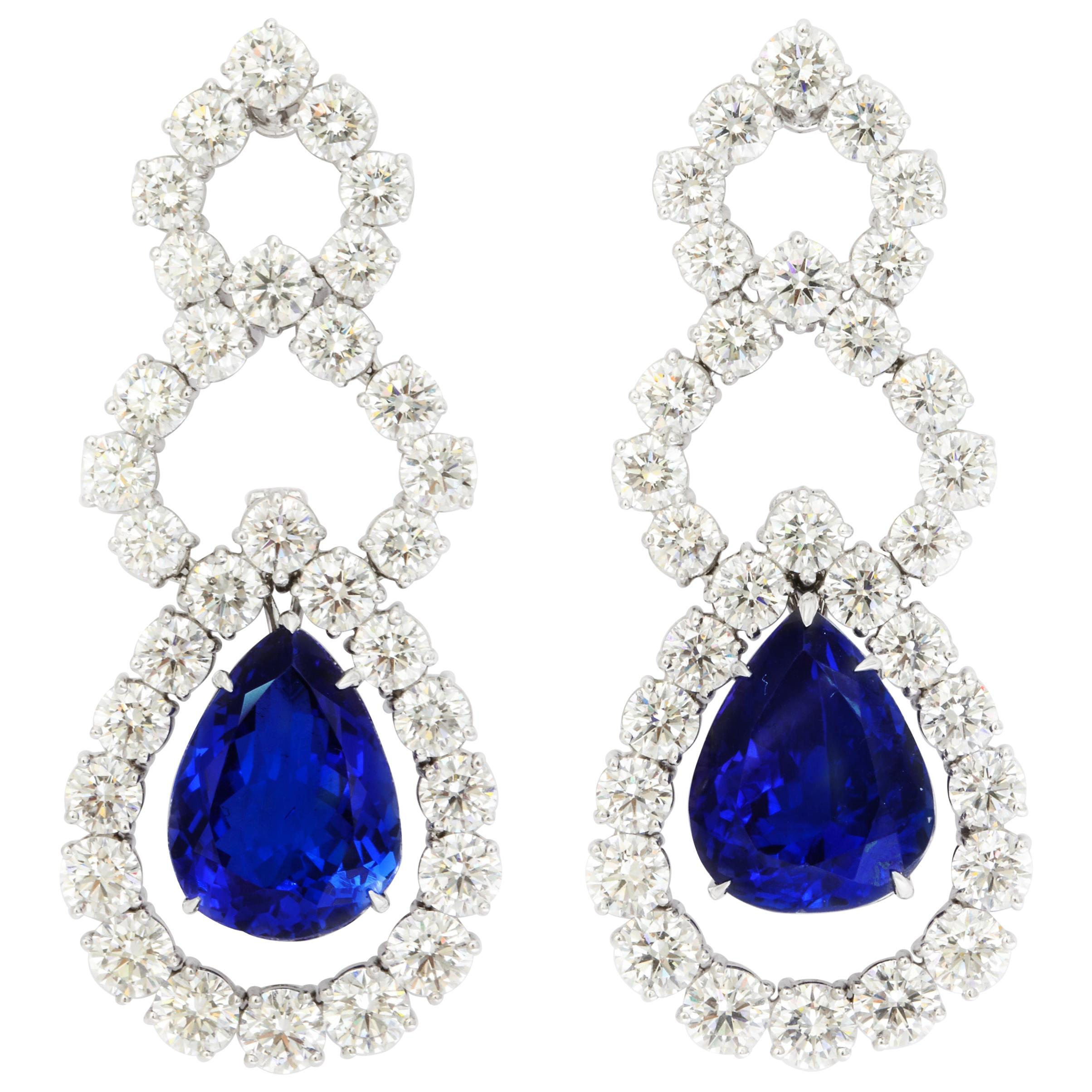 Pear Shape Tanzanite Diamond Platinum Hanging Earrings