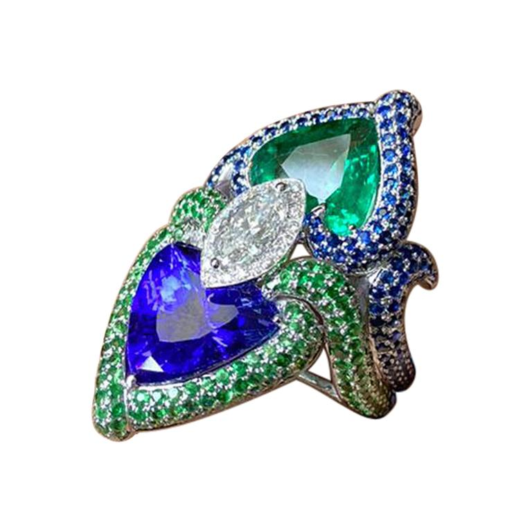 Pear Shape Tanzanite, Emerald and Marquise Diamond Cocktail Ring