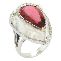 Pear Shape Tourmaline Set in Rock Crystal Ring