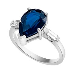 Pear Shape Unheated Blue Sapphire Ring GIA Certified 4.20 Carat in Platinum
