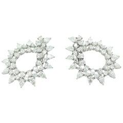 Pear Shape White Diamond Hoop Earrings