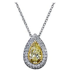Pear Shape Yellow Diamond Pendant 2.50 Carat GIA Certified Set in Platinum/18KY