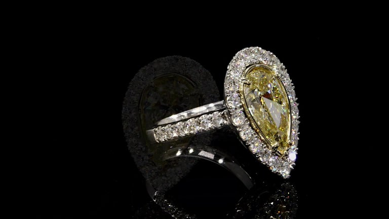 Pear Cut GIA Certified 3.02 Carat Pear Shape Yellow Diamond Ring For Sale
