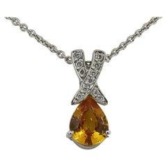 Pear Shape Yellow Sapphire and Diamond Pendant 18 Karat White Gold