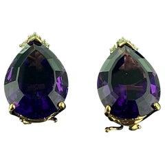 Pear Shaped 15 Carat Amethyst & Diamond Earrings