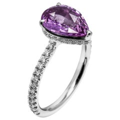 Pear Shaped 2.14 Carat Pink Sapphire Ring