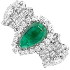 Pear-Shaped 23 Carat Emerald Bracelet, Platinum and Diamond, Clerc