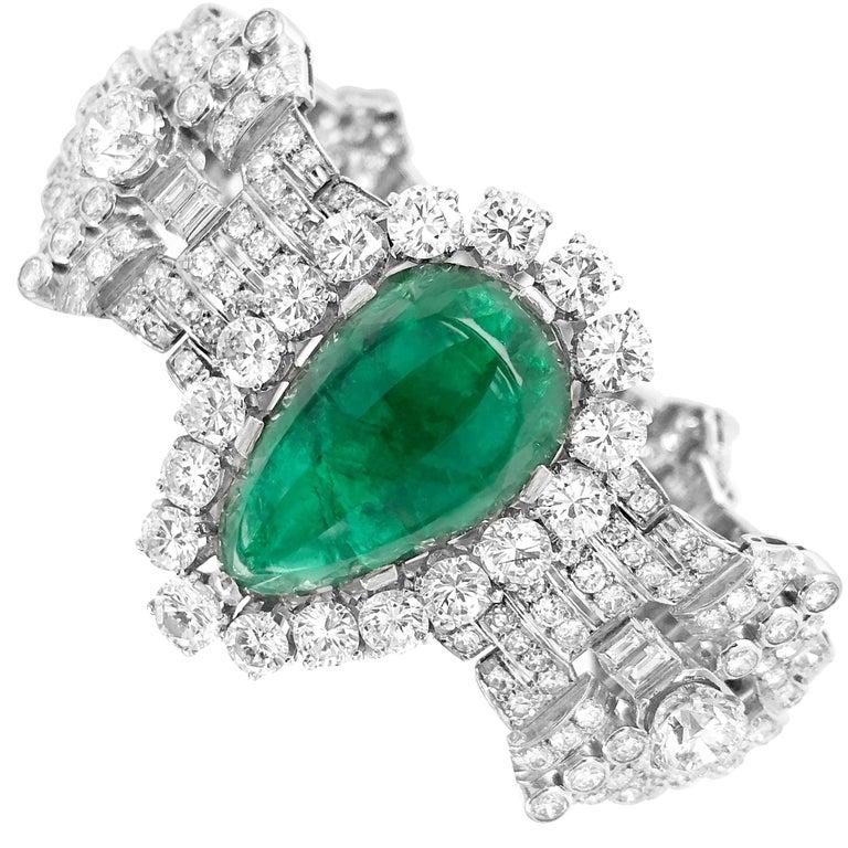 Pear-Shaped 23 Carat Emerald Bracelet, Platinum and Diamond, Clerc For Sale