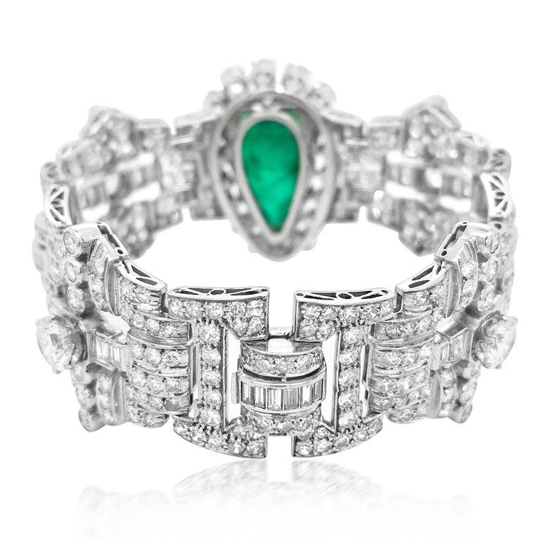 Retro Pear-Shaped 23 Carat Emerald Bracelet, Platinum and Diamond, Clerc For Sale