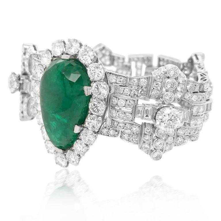 Pear Cut Pear-Shaped 23 Carat Emerald Bracelet, Platinum and Diamond, Clerc For Sale