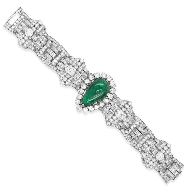 Women's Pear-Shaped 23 Carat Emerald Bracelet, Platinum and Diamond, Clerc For Sale
