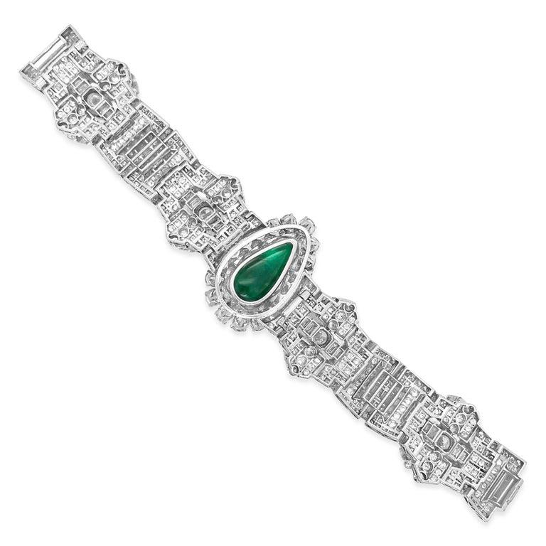 Pear-Shaped 23 Carat Emerald Bracelet, Platinum and Diamond, Clerc For Sale 1