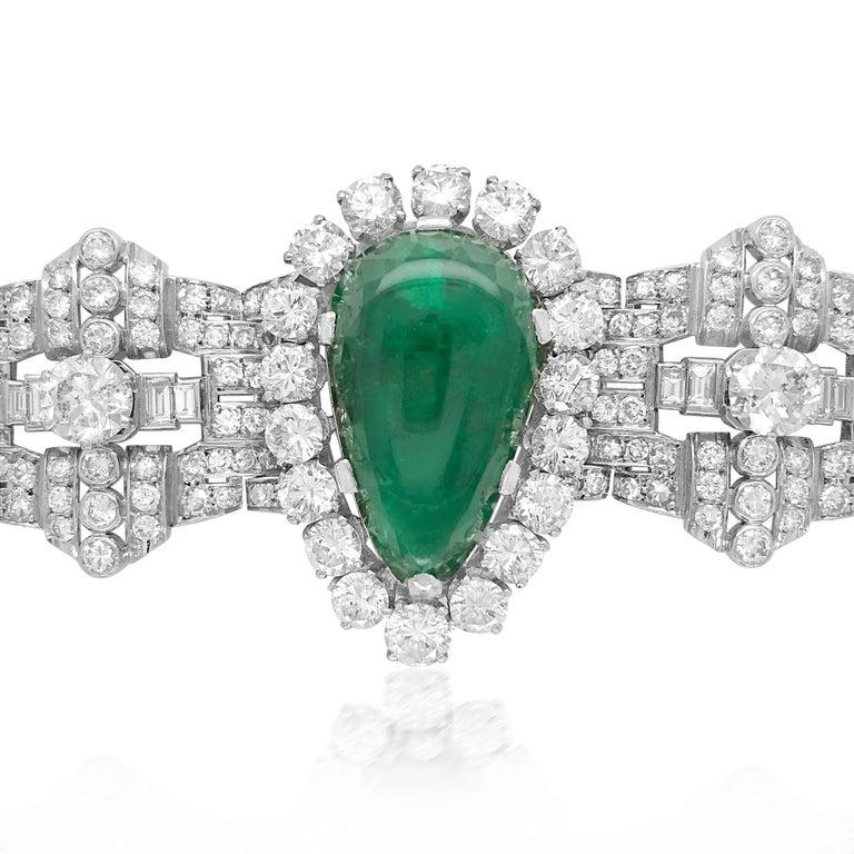 Pear-Shaped 23 Carat Emerald Bracelet, Platinum and Diamond, Clerc For Sale 2