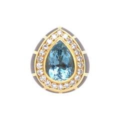 DeVroomen Pear Shaped Aquamarine Diamond and Gray Enamel Yellow Gold Ring