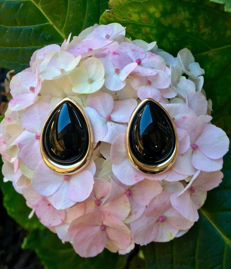 Pear Cut Pear Shaped Black Onyx 14 Karat Yellow Gold Earrings Peter Brams Designs For Sale