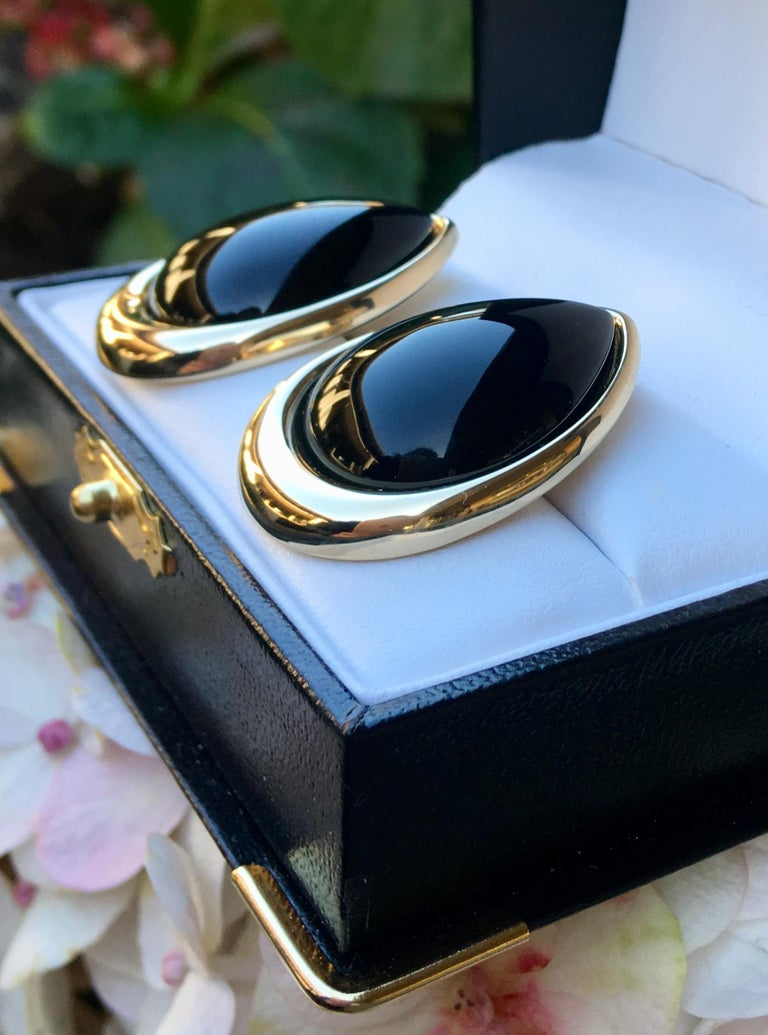 Pear Shaped Black Onyx 14 Karat Yellow Gold Earrings Peter Brams Designs For Sale 1