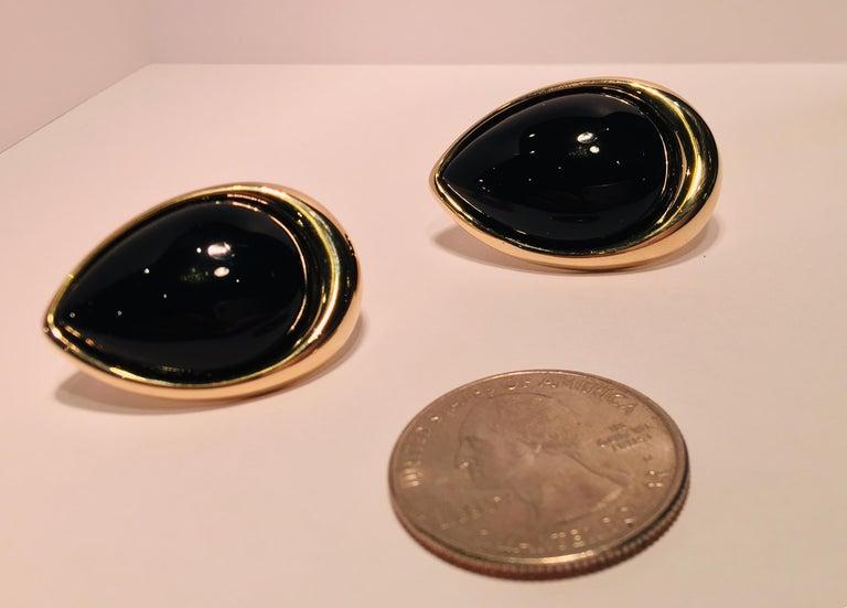 Pear Shaped Black Onyx 14 Karat Yellow Gold Earrings Peter Brams Designs For Sale 3