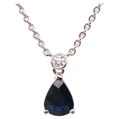 Pear Shaped Blue Sapphire and Diamond White Gold Necklace