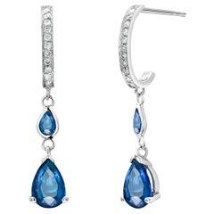 Pear Shaped Blue Sapphire Diamond Drop Hoop Gold Earrings