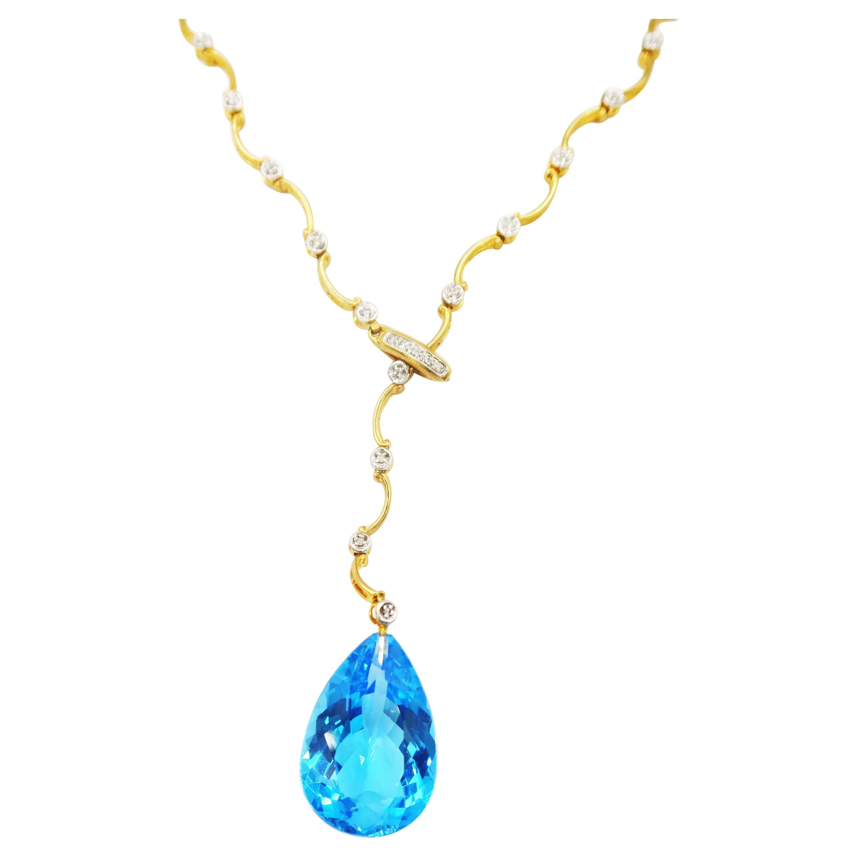 Pear-Shaped Blue Topaz Drop Alternating Wavy Diamond 18k Gold Lariat Necklace