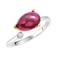 Pear Shaped Cabochon Burma Rubies and Diamond Split Shank Gold Cocktail Ring