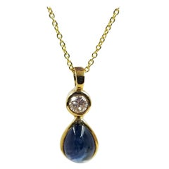 Pear Shaped Cabochon Sapphire and Diamond Pendant Necklace