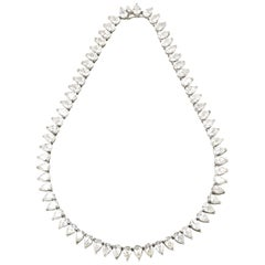 Pear Shaped Cubic Zirconia CZ Sterling Silver Tennis Line Statement Necklace