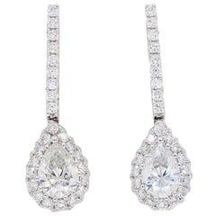 Pear Shaped Diamond Drop Earrings in 18 Karat White Gold
