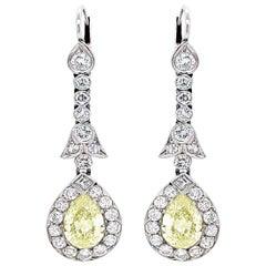 Pear-Shaped Diamond Platinum Drop Earrings