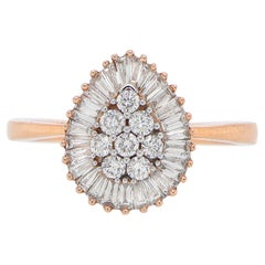 Pear Shaped Diamond Ring Made with Baguette and Round Diamonds 1.50 Carats Total