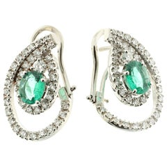 Pear-Shaped Earrings in 18 Karat Gold with Diamonds and Emeralds