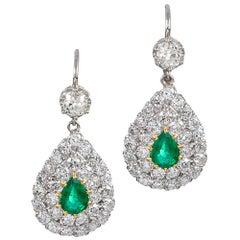 Pear-Shaped Emerald and Diamond Drop Earrings