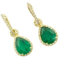 Pear Shaped Emerald and Diamond Earrings in 18 Karat