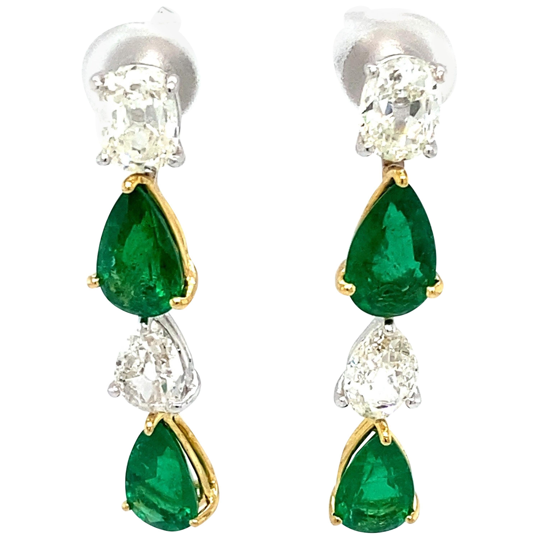 Pear Shaped Emerald and White Diamond Gold Dangle Earrings
